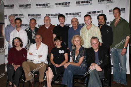 Stock Photo of Frank Langella, Doug Hughes and cast|Seated: Maryann Plunkett, Frank Langella, Hannah Cabell, Patricia Hodges, Director Doug Hughes