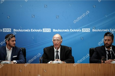 Vassilis Leventis (C), leader of the Enosi Kenrtoon (Centrists Union) party gives a press conference
