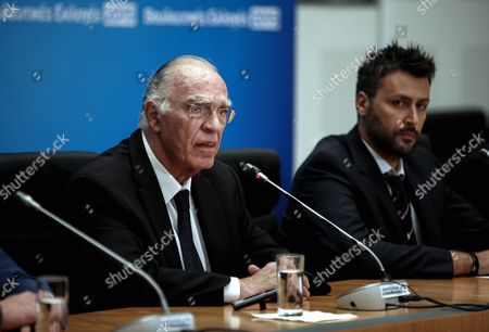 Vassilis Leventis, leader of the Enosi Kenrtoon (Centrists Union) party gives a press conference