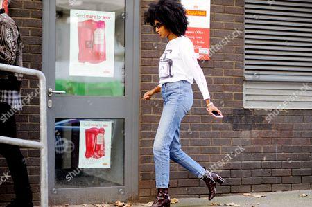 Julia Sarr-Jamois arrival for Hunter ready to wear fashion show, Barnby street, London England UK.