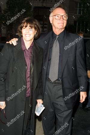 """Nora Ephron and Nick Pileggi arriving to the premiere of Dreamworks' """"Hollywood Ending"""" at the Clearview Chelsea West Cinemas in New York City on April 23, 2002.  Manhattan, New York  Photo® Matt Baron/BEI"""