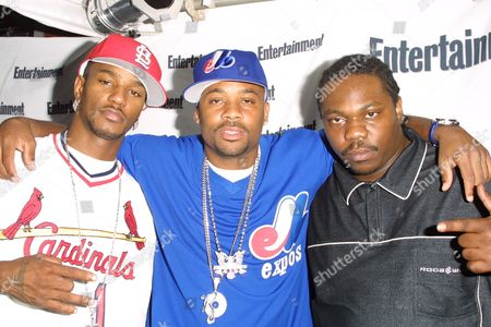 """Stock Photo of Cam'ron (left), Damon Dash (middle) and Beanie Sigel (right at Entertainment Weekly's 1st Annual """"It List"""" Party, celebrating the sixth year of the popular """"It List"""" issue, at Milk Studios in New York City on June 24, 2002.  Manhattan, New York  Photo® Matt Baron/BEI"""