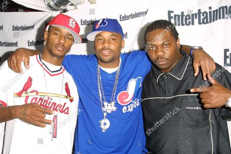 """Cam'ron (left), Damon Dash (middle) and Beanie Sigel (right) at Entertainment Weekly's 1st Annual """"It List"""" Party, celebrating the sixth year of the popular """"It List"""" issue, at Milk Studios in New York City on June 24, 2002.  Manhattan, New York  Photo® Matt Baron/BEI"""