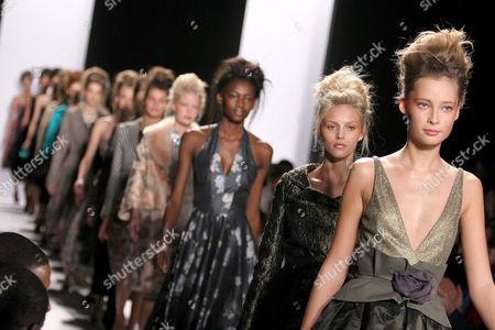 Tiiu Kuik and models at the Luca Luca fashion show