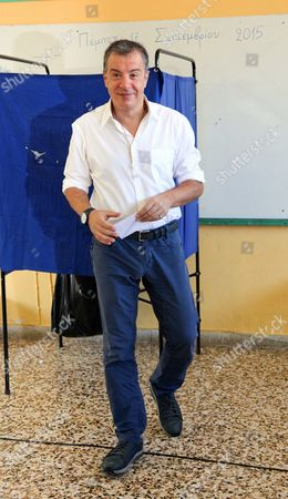 Leader of 'To Potami' (The River) party Stavros Theodorakis votes in Chania, Crete