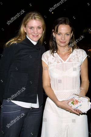 """Tristine Skyler (left) and Samantha Mathis at the after-party for the opening night performance of """"The Elephant Man"""" on Broadway at Tavern on the Green in New York City on April 14, 2002.  Manhattan, New York  Photo® Matt Baron/BEI"""