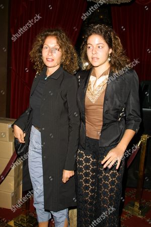 "Stock Picture of Jacqueline Schnabel (left) and daughter Lola at the premiere of ""Cremaster 3"" at the Ziegfeld Theatre in New York City on May 1, 2002.