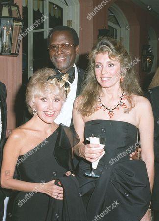 Rona Barrett, Sidney Poitier, and wife Joanna Schimkus (Poitier)