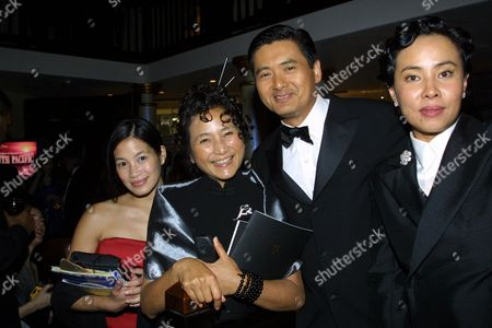 03-25-01  Beverly Hills,CA Euginia Cheng, Pei-Pei Cheng, Chow Yun Fat, and wife Jasmine Sony Post-Oscar party at the Crustacean in Beverly Hills. Photo® Alberto Rodriguez/BEI