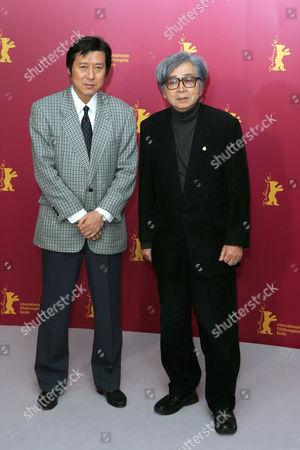 Stock Photo of Takeo Hisamatsu and Yoji Yamada 'Kakushiken oni no tsume' Photocall
