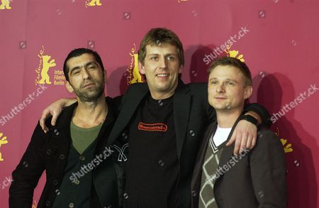 Erdal Yildiz, Hannes Stohr and Florian Lukas at film photocall for 'One Day In Europe'