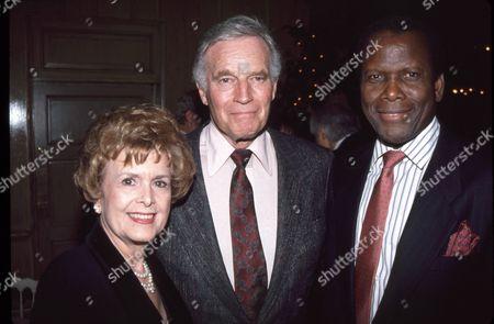 Charlton Heston with wife Lydia Clarke, Sidney Poitier