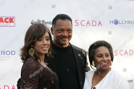 Stock Photo of Santita Jackson, Reverend Jesse Jackson and Jacqueline Lavinia Brown