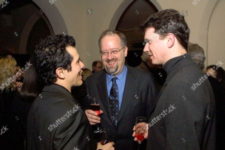 """20010120 West Hollywood John Leguizamo, Doug Wright and Peter Rice at the Fox Searchlight pre Golden Globes in honor of """"Quills"""". Photo®Alex Berliner/BEI"""