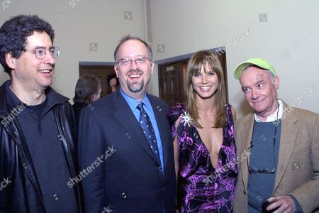 """20010120 West Hollywood FOX's Tom Rothman, Doug Wright screenwriter of Quills Heidi Klum and Buck Henry at the  Fox Searchlight pre Golden Globes in honor of """"Quills"""". Photo®Alex Berliner/BEI"""
