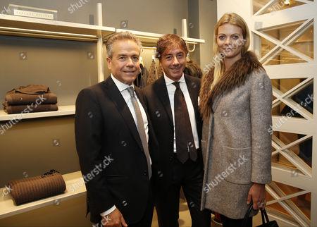 Giacomo Filippi, Mario Filippi and Jemma Kidd wearing Fabiana Filippi coat