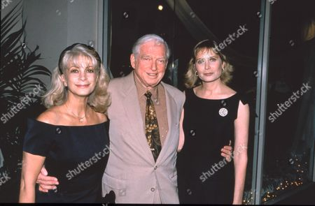Stock Image of Sidney Sheldon and wife Alexandra and Deborah Raffin