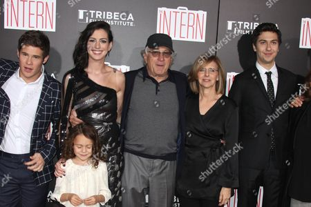 Adam Devine, Anne Hathaway, JoJo Kushner, Robert De Niro, Nancy Meyers and Nat Wolff