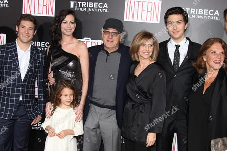 Stock Picture of Adam Devine, Anne Hathaway, JoJo Kushner, Robert De Niro, Nancy Meyers, Nat Wolff and Linda Lavin