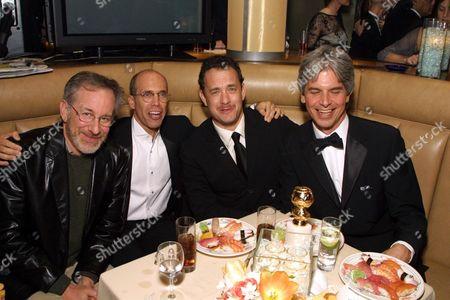 20010121  Steven Spielberg, Jeffrey Katzenberg  , Tom Hanks and Walter Parks at the Dreamworks Universal post Golden Globe Party.  Photo®Alex Berliner/BEI