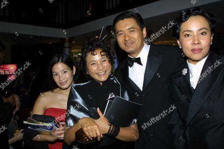 Stock Photo of Euginia Cheng, Pei-Pei Cheng, Yun-Fat Chow and wife Jasmine