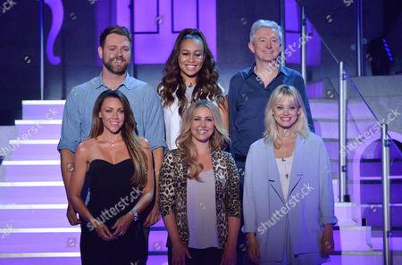 Brian McFadden, Rebecca Ferguson and Louis Walsh, Michelle Heaton, Heidi Range and Kimberly Wyatt
