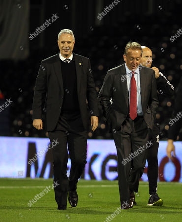 Kit Symons, Manager of Fulham with Alan Curbishley - Fulham vs Stoke City at Craven Cottage. - Capital One Cup 3rd Round. 22.09.15