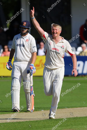 Glen Chapple of Lancashire celebrates taking the wicket of Tom Westley during Essex CCC vs Lancashire CCC, Day Two