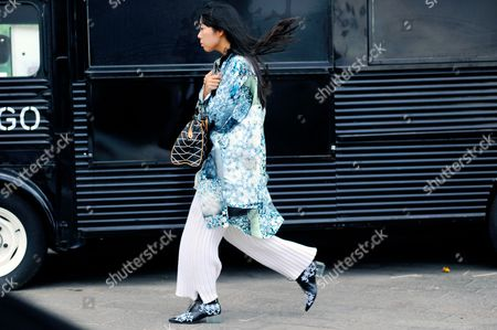 Susie Bubble arrival for Mary Katrantzou ready to wear fashion show at Granary Square, Kings Cross, London.