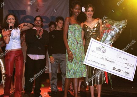 """6-7-00  West Hollywood, Ca Photo®Alex Berliner/BEI  A005676-35 Teen Magazine/Maybelline Great Model Search winner Yammile Ceballo with model Tomiko and celebrity judges  at the 19th annual """"Great Model Search"""" sponsered by Teen Magazine and Maybelline held at the Key Club in West Hollywood.  Special guests include Mila Kunis, Nicholas Brendon, Thomas Ian Nicholas, and live performances by Save Ferris, Bosson, and No Authority."""