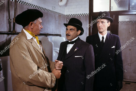 John Bardon, David Suchet and Hugh Fraser in episode 'Four and Twenty Blackbirds'