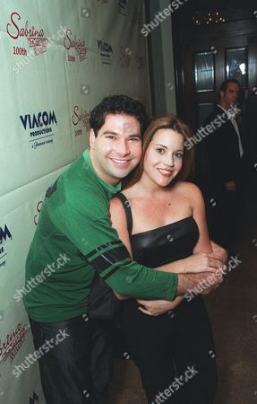 """20001023      Hollywood, CA Joel Maclee and Jenna Leigh Green at 'The Sunset Room' in Hollywood, celebrating the 100th episode of  """"Sabrina , the Teenage Witch"""". A010813-36 Photo®Ryan Miller/Berliner Studio/BEI"""