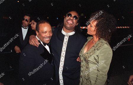 Quincy Jones, Stevie Wonder and Jolie