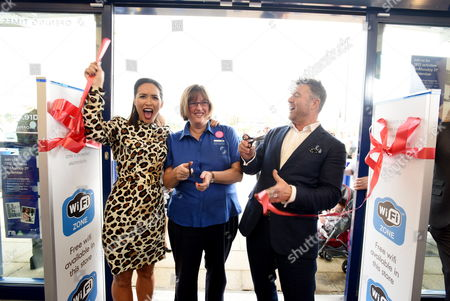 Stock Picture of Myleene Klass opening the new store with Mothercare Chief Executive, Mark Newton-Jones and Mothercare staff member, Tamsin Larwood