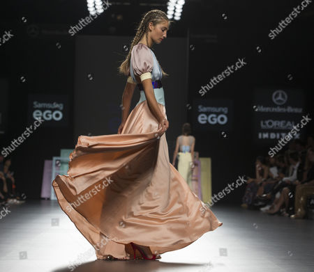 Stock Image of Almudena Canedo on the catwalk