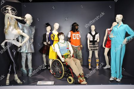 'Glee' - (L to R) Costumes worn by Actors: Heather Morris as Brittany, Chris Colfer as Kurt Hummel, Jenna Ushkowitz as Tina Cohen-Chang, Jayma Mays as Emma Pillsbury, Kevin McHale as Artie Abrams, Amber Riley as Mercedes Jones, Lea Michele as Rachel Berry, Dianna Agron as Quinn Fabray and Jane Lynch as Sue Sylvester.
