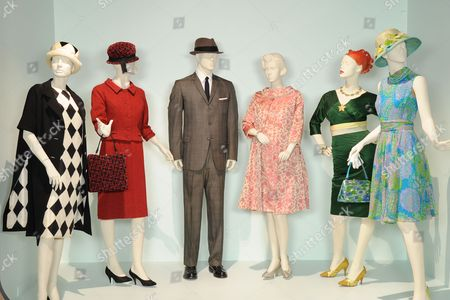 'Mad Men' - (L to R)  Costumes worn by Actors: Peyton List as Jane Sterling, Elisabeth Moss as Peggy Olson, Jon Hamm as Don Draper, January Jones as Betty Draper, Christina Hendricks as Joan Holloway and Alison Brie as Trudy Campbell.