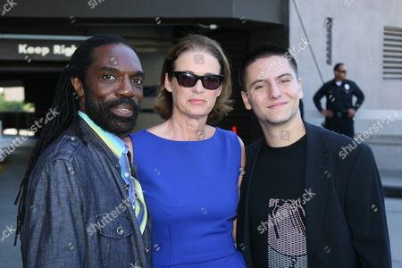 Fashion designer Kevan Hall, Lisa Love and fashion designer Marc Blaskovits