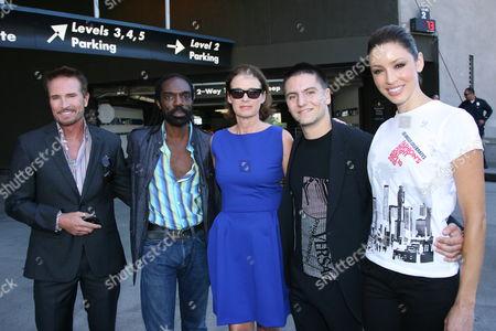Randolph Duke, fashion designer Kevan Hall, Lisa Love, fashion designer Marc Blaskovits and a model wearing a Fashion Night Out T-shirt