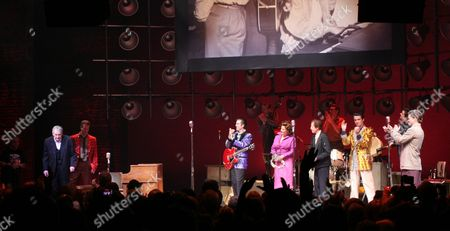 Stock Image of Jerry Lee Lewis and Levi Kreis, Robert Britton Lyons, Elizabeth Stanley, Eddie Clendening and Lance Guest and Hunter Foster