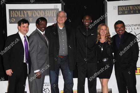 Jimmy Kimmel, Jim Hill, Phil Jackson, Kobe Bryant, Jeanie Buss