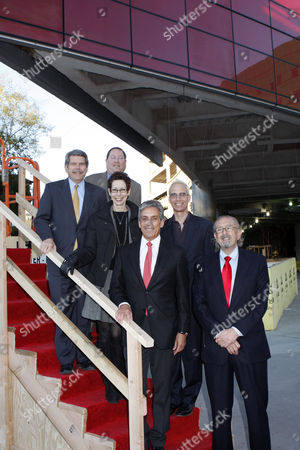 Stock Photo of (Top to Bottom L-R) Los Angeles County Supervisor Zev Yaroslavsky, City of Los Angeles Councilmember Paul Koretz,  West Hollywood City Councilmember Abbe Land, West Hollywood Mayor John Heilman, PDC President and Owner Charles S Cohen, Architect Cesar Pelli