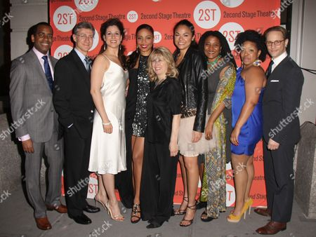 Daniel Breaker, David Garrison, Stephanie J Block, Sanaa Lathan, Second Stage Artistic Director Carole Rothman, Karen Olivo, Playwright Lynn Nottage, Kimberly Hebert Gregory, Kevin Isola