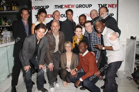 Danny Mastrogiorgio, Barrett Doss, Drew Hildebrand, Adam Trese, Playwright Thomas Bradshaw, Jeff Biehl, Andrew Garman Front row: Hunter Foster, Director Scott Elliott, Larisa Polonsky, Reyna de Courcy, Stephen Tyrone Williams, Evan Johnson, Vladimir Versailles