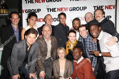 Back row: Danny Mastrogiorgio, Barrett Doss, Drew Hildebrand, Adam Trese, Playwright Thomas Bradshaw, Jeff Biehl, Andrew Garman Front row: Hunter Foster, Director Scott Elliott, Larisa Polonsky, Reyna de Courcy, Stephen Tyrone Williams, Evan Johnson, Vladimir Versailles