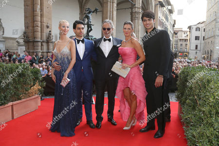 Andrea Bocelli with wife Veronica and sons Amos and Matte