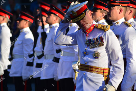 The Governor of Gibraltar Sir James Dutton participates in his final Ceremony of the Keys parade