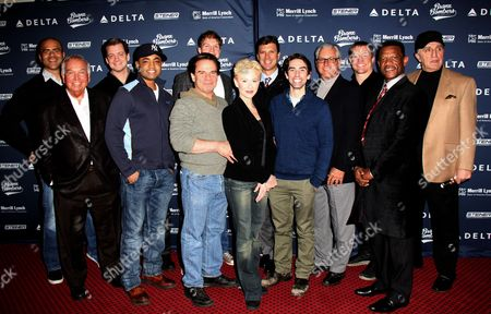 Christopher Jackson, Bobby Richardson, Chris Henry Coffey, Francois Battiste, Peter Scolari, John Wernke (partially obscured), Tracy Shayne, Tino Martinez, Keith Nobbs, Bucky Dent, Bill Dawes, Ricky Henderson, Joe Pepitone