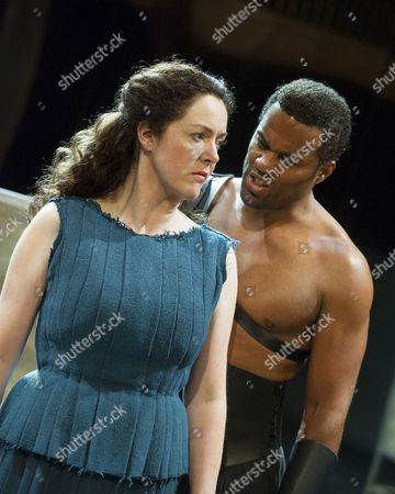Stock Photo of Derbhle Crotty as Hecuba, Ray Fearon as Agamemnon