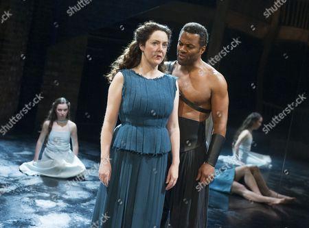 Stock Image of Amy McAllister asPolyxena, Derbhle Crotty as Hecuba, Ray Fearon as Agamemnon
